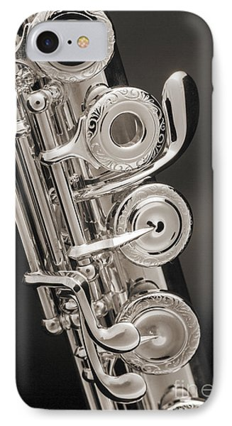 Soprano Flute Music Instruments Photo In Sepia  3441.01 IPhone Case
