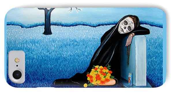 IPhone Case featuring the painting Sorrow And Hope by Evangelina Portillo
