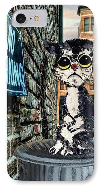Sorrowful Cat On Can IPhone Case by Ron and Ronda Chambers