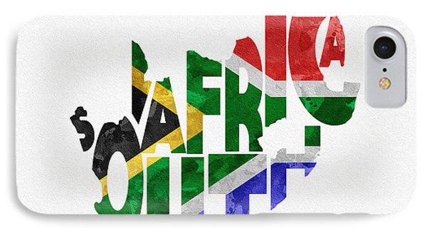 South Africa Typographic Map Flag IPhone Case by Ayse Deniz