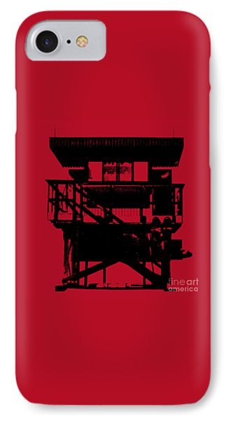 IPhone Case featuring the digital art South Beach Lifeguard Stand by Jean luc Comperat
