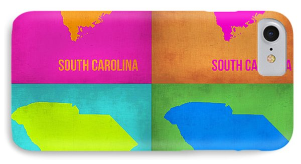 South Carolina Pop Art Map 1 IPhone Case by Naxart Studio
