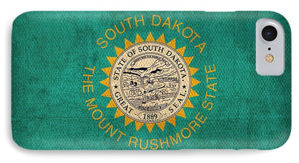 South Dakota State Flag Art On Worn Canvas IPhone Case by Design Turnpike