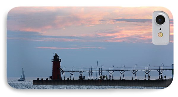 IPhone Case featuring the photograph South Haven Sunset With Sailboat by Bill Woodstock