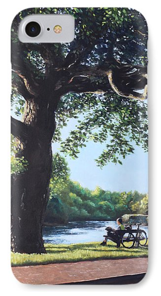 Southampton Riverside Park Oak Tree With Cyclist Phone Case by Martin Davey