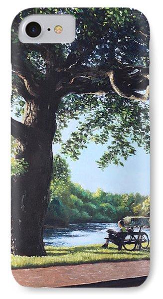 Southampton Riverside Park Oak Tree With Cyclist IPhone Case