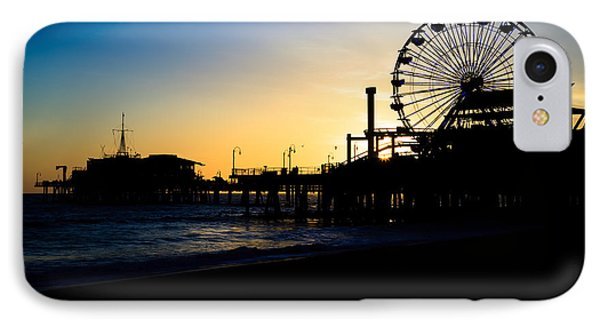 Southern California Santa Monica Pier Sunset Phone Case by Paul Velgos
