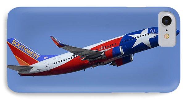 Southwest Boeing 737-3h4 N352sw Lone Star One Taking Off Phoenix Sky Harbor March 6 2015  Phone Case by Brian Lockett