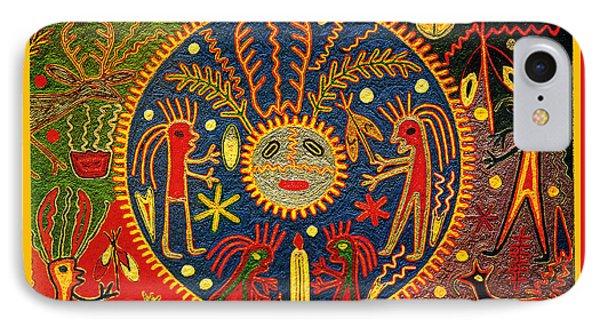 IPhone Case featuring the digital art Southwest Huichol Del Sol by Vagabond Folk Art - Virginia Vivier
