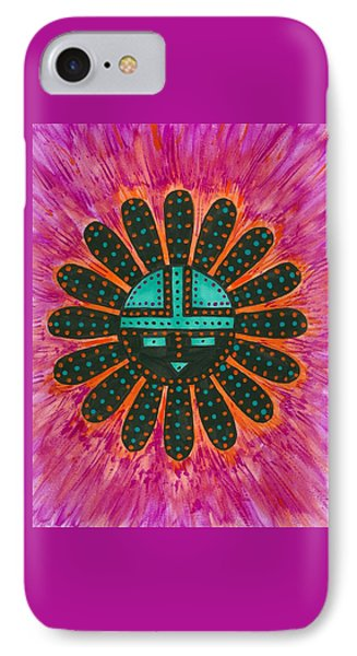 IPhone Case featuring the painting Southwest Sunburst Sunface by Susie Weber