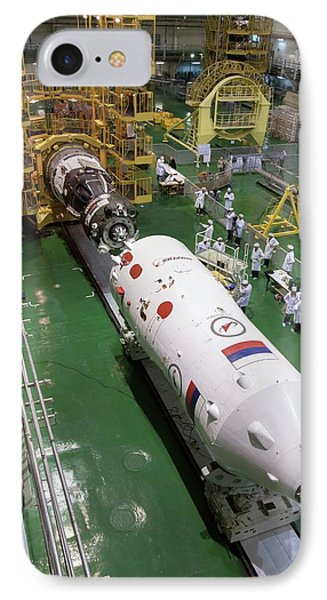 Soyuz Rocket Preparation IPhone Case by Nasa/victor Zelentsov