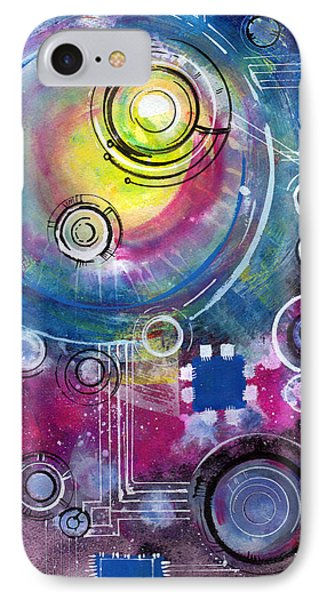 Space Circuit IPhone Case by Jennifer Pavia