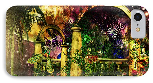 IPhone Case featuring the mixed media Space Garden by Ally  White