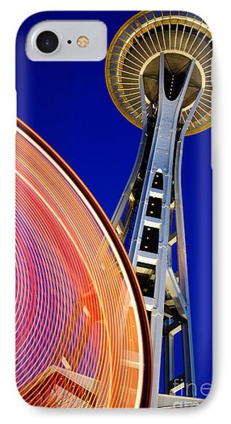 Space Needle Color Wheel IPhone Case by Inge Johnsson