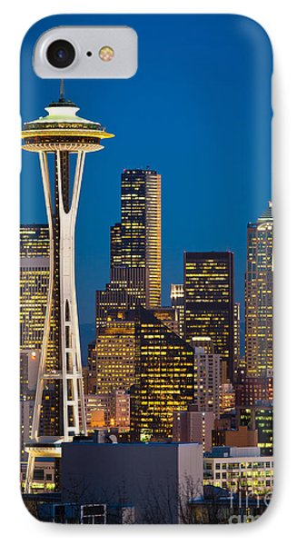 Space Needle Evening Phone Case by Inge Johnsson