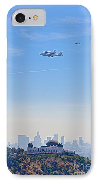 Space Shuttle Endeavour And Chase Planes Over The Griffith Observatory IPhone Case by David Zanzinger