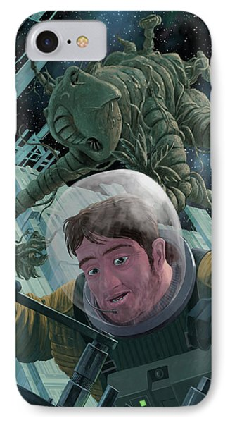 Space Station Monster Phone Case by Martin Davey