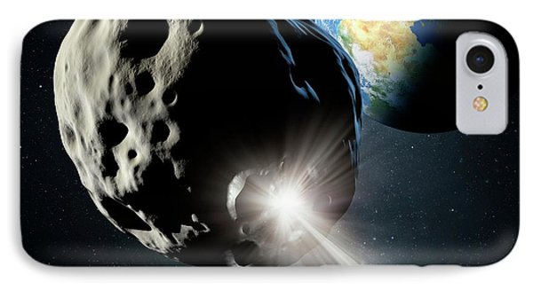Spacecraft Colliding With Asteroid IPhone Case by Detlev Van Ravenswaay