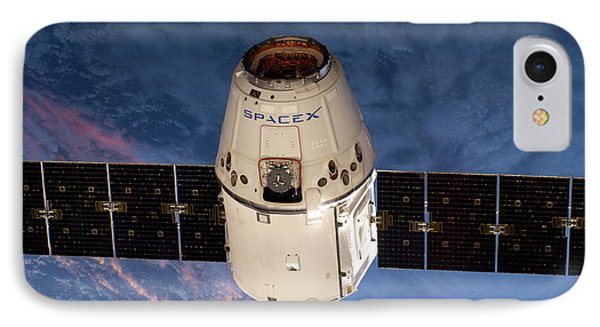 Spacex Dragon Capsule At The Iss IPhone Case by Nasa