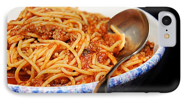 Spaghetti And Meat Sauce With Spoon Phone Case by Andee Design