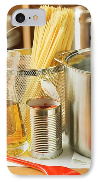 Spaghetti, Tin Of Tomatoes, Oil And Pan IPhone Case