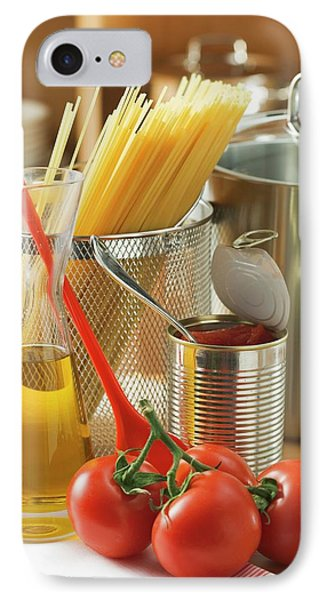 Spaghetti, Tomatoes, Oil And Pan IPhone Case