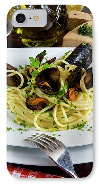 Spaghetti With Mussels (mytilus IPhone Case