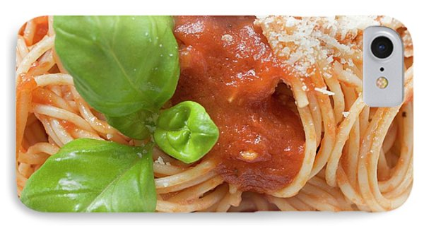 Spaghetti With Tomato Sauce, Basil And Parmesan (close-up) IPhone Case