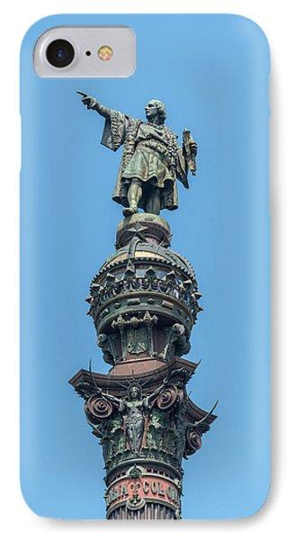 Spain, Barcelona, Christopher Columbus IPhone Case by Jim Engelbrecht