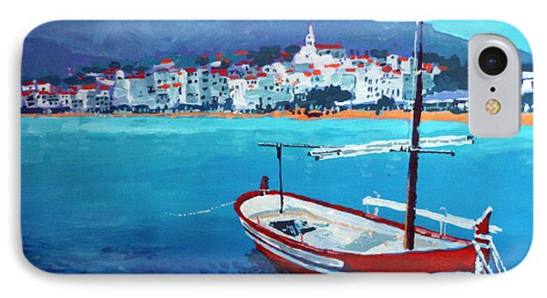 Spain Series 08 Cadaques Red Boat IPhone Case by Yuriy Shevchuk