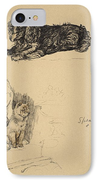 Spaniel And Chow, 1930, Illustrations IPhone Case by Cecil Charles Windsor Aldin