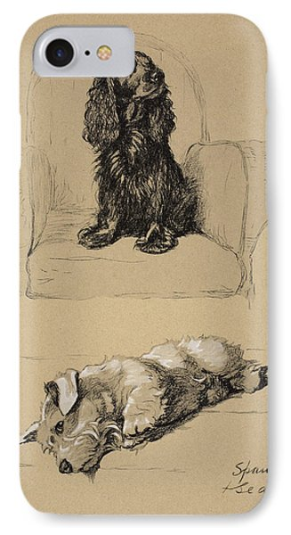 Spaniel And Sealyham, 1930 Phone Case by Cecil Charles Windsor Aldin