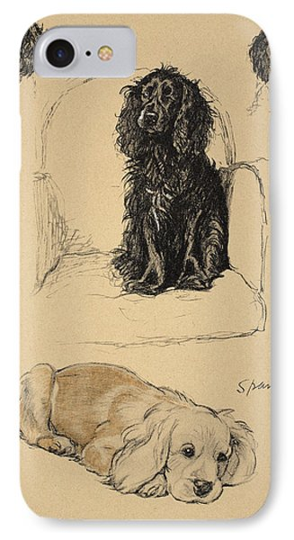Spaniels, 1930, Illustrations IPhone Case by Cecil Charles Windsor Aldin