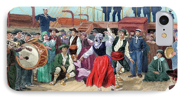 Spanish Emigrants On Board A Ship IPhone Case by Prisma Archivo