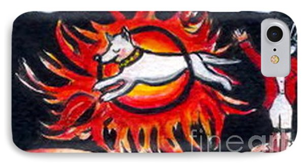 IPhone Case featuring the painting Sparky The Dog Jumps Through The Fiery Hoop by Joyce Gebauer