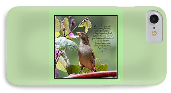Sparrow Inspiration From The Book Of Luke IPhone Case by Catherine Sherman