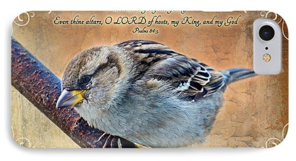 Sparrow With Verse Phone Case by Debbie Portwood