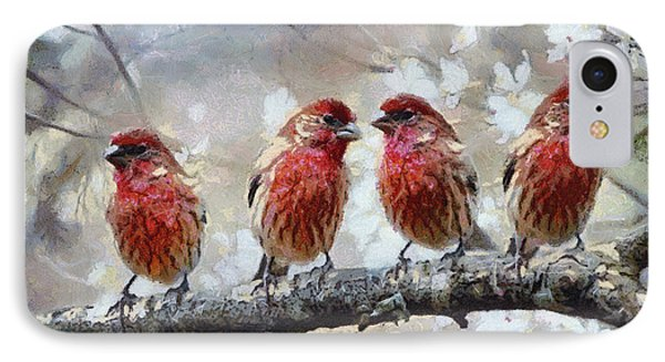IPhone Case featuring the painting Sparrows by Georgi Dimitrov