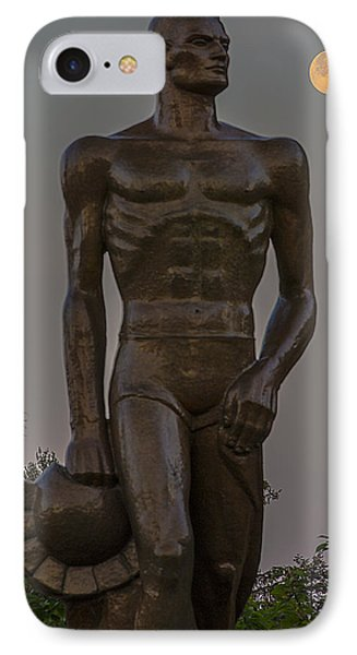 Sparty And Moon IPhone Case by John McGraw