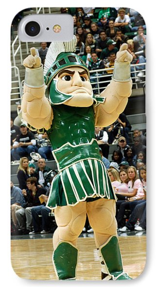 Sparty At Basketball Game  IPhone Case by John McGraw