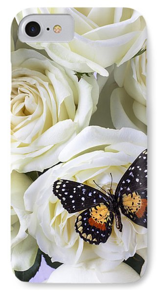 Rose iPhone 7 Case - Speckled Butterfly On White Rose by Garry Gay