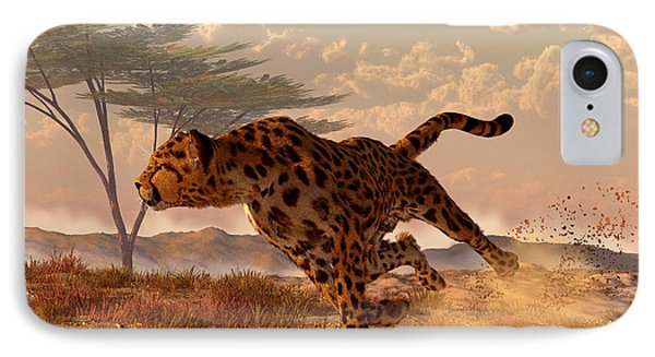 Speeding Cheetah Phone Case by Daniel Eskridge