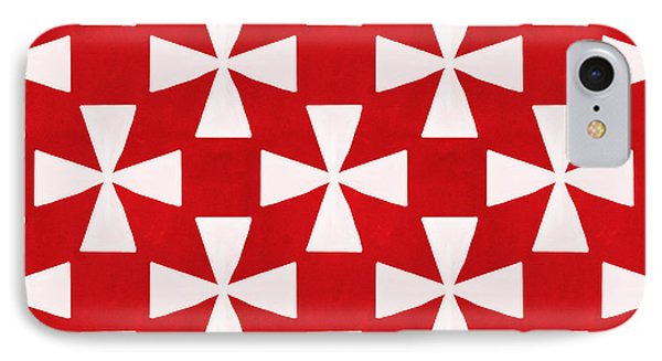 Spice Twirl- Red And White Pattern Phone Case by Linda Woods