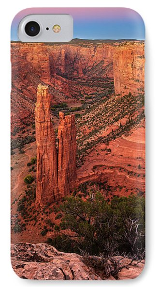 IPhone Case featuring the photograph Spider Rock Sunset by Alan Vance Ley