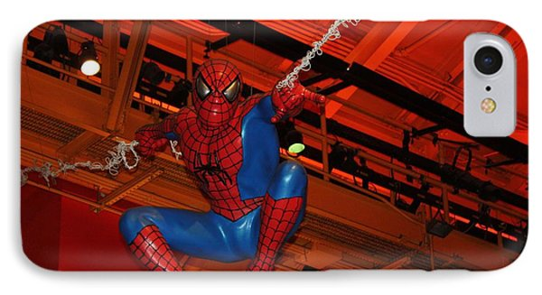 Spiderman Swinging Through The Air IPhone Case by John Telfer