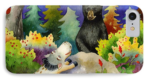 Spike The Dhog Encounters A Mother Bear In The Forest IPhone Case by Anne Gifford