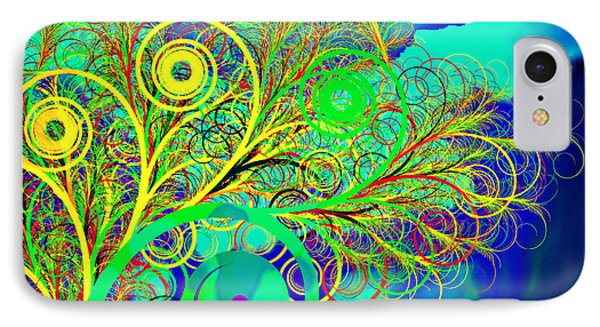 Spiral Tree With Blue Background Phone Case by GuoJun Pan