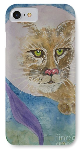 IPhone Case featuring the painting Spirit Of The Mountain Lion by Ellen Levinson