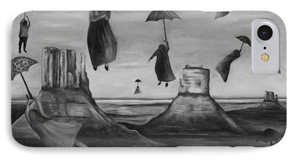 Spirits Of The Flying Umbrellas Bw IPhone Case by Leah Saulnier The Painting Maniac