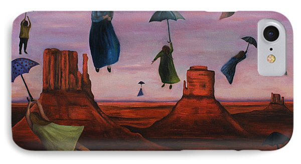Spirits Of The Flying Umbrellas IPhone Case by Leah Saulnier The Painting Maniac